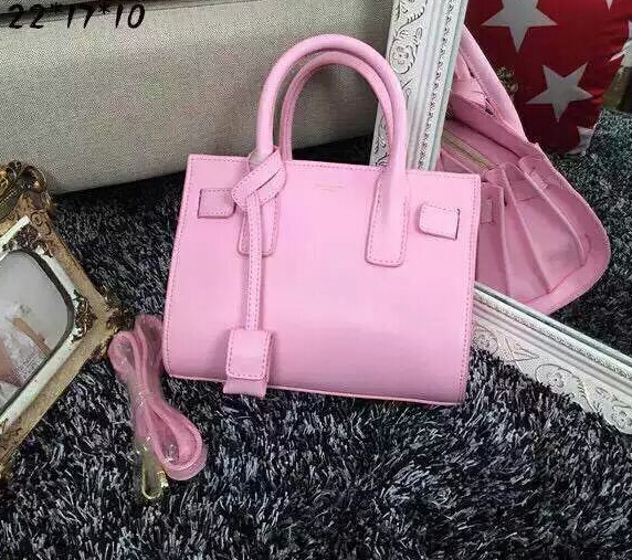 2015 New Saint Laurent Bag Cheap Sale-2015 New Saint Laurent Bag Cheap Sale-Saint Laurent Classic Small Sac De Jour Bag in Pink Leather