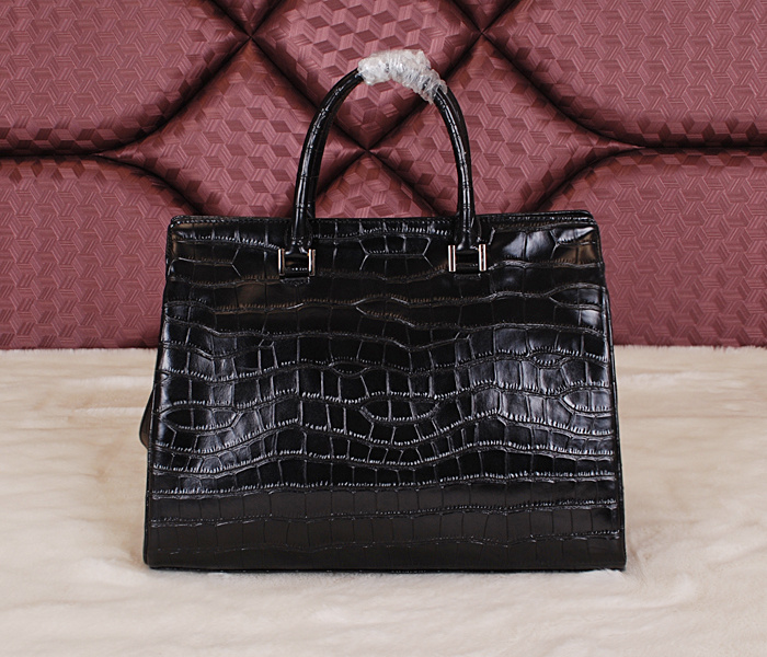 Cheap 2014 YSL Bags outlet---Saint Laurent classic Sac De Jour Bag crocodile leather 7118Black