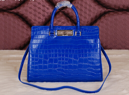 Cheap 2014 YSL Bags outlet---Saint Laurent classic Sac De Jour Bag crocodile leather 7118Blue