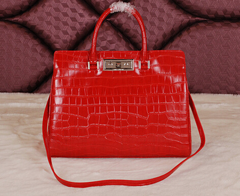 Cheap 2014 YSL Bags outlet---Saint Laurent classic Sac De Jour Bag crocodile leather 7118Red