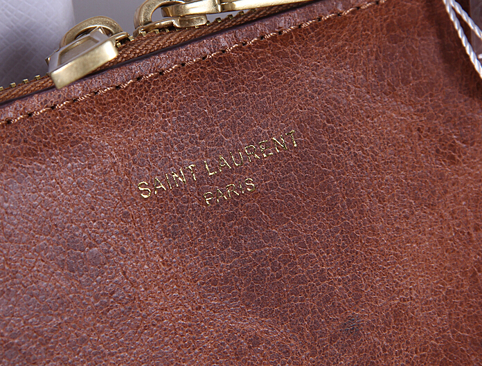 2015 New Saint Laurent Bag Cheap Sale- YSL Briefcase in Deep Brown Calfskin Leather