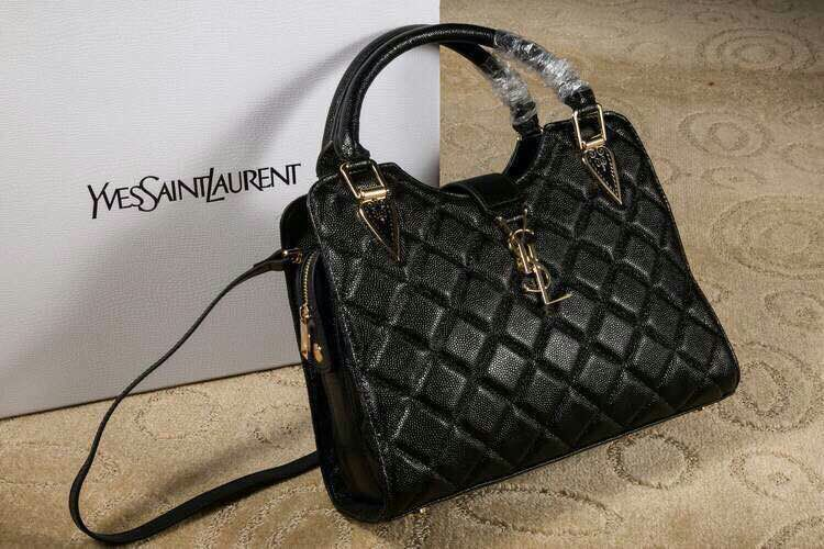 2015 New Saint Laurent Bag Cheap Sale-Saint Laurent Top Handle Bag in Black Lozenge Pattern Calfskin Leather