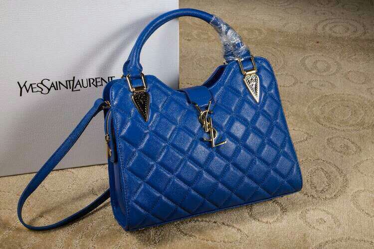 2015 New Saint Laurent Bag Cheap Sale-Saint Laurent Top Handle Bag in Royal Blue Lozenge Pattern Calfskin Leather