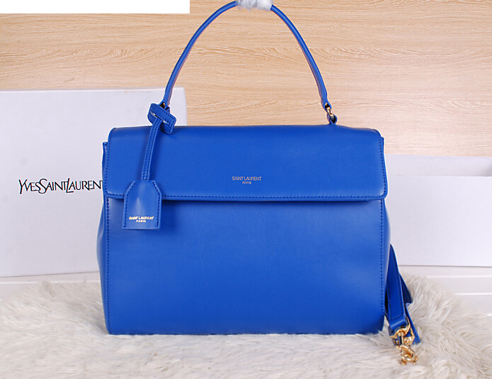 2014 New YSL Saint Laurent Medium Moujik Top Handle Bag Y8827 Blue