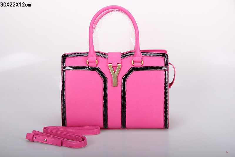 2013 new ysl tote in pink+black,YSL BAGS ON SALE