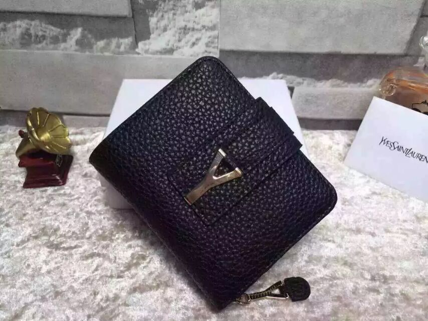 2015 New Saint Laurent Bag Cheap Sale-YSL Wallet in Black Grained Calfskin Leather