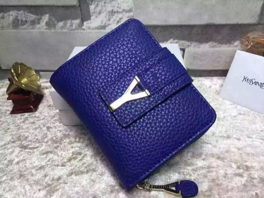 2015 New Saint Laurent Bag Cheap Sale-YSL Wallet in Blue Grained Calfskin Leather