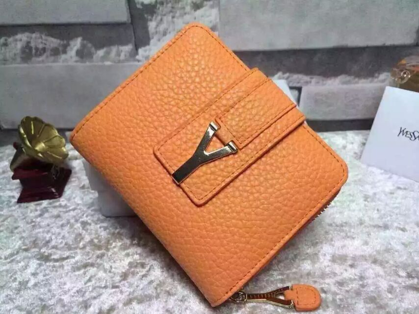 2015 New Saint Laurent Bag Cheap Sale-YSL Wallet in Orange Grained Calfskin Leather