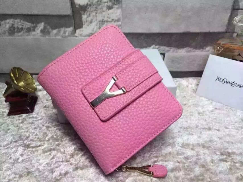 2015 New Saint Laurent Bag Cheap Sale-YSL Wallet in Pink Grained Calfskin Leather