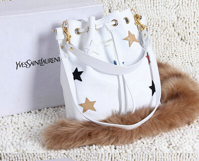 YSL 2015 Fashion Show Collection Outlet_Saint Laurent EMMANUELLE BUCKET BAG in White Grain Leather with Multicolour Star Patches