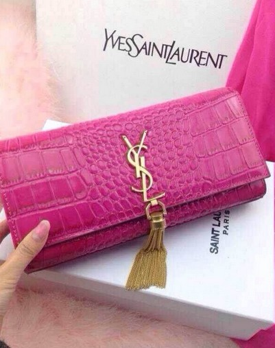 -2014 Cheap Saint Laurent monogramme printed leather clutch 9898 hot pink