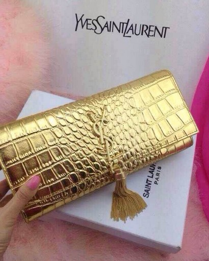 -2014 Cheap Saint Laurent monogramme printed leather clutch 9898 gold