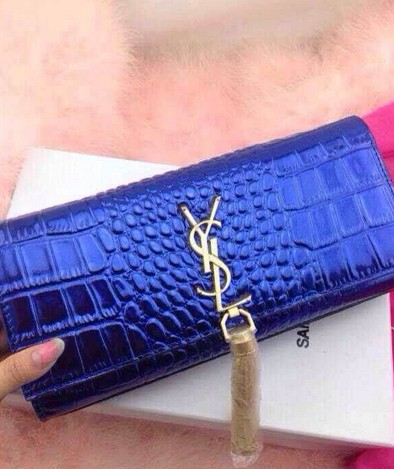 -2014 Cheap Saint Laurent monogramme printed leather clutch 9898blue
