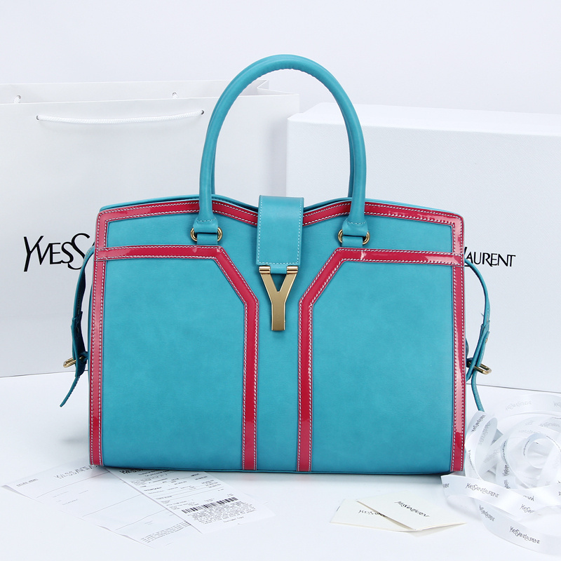 2013 Yves Saint Laurent Medium tricolor Cabas Chyc Bag 9928 Blue+red