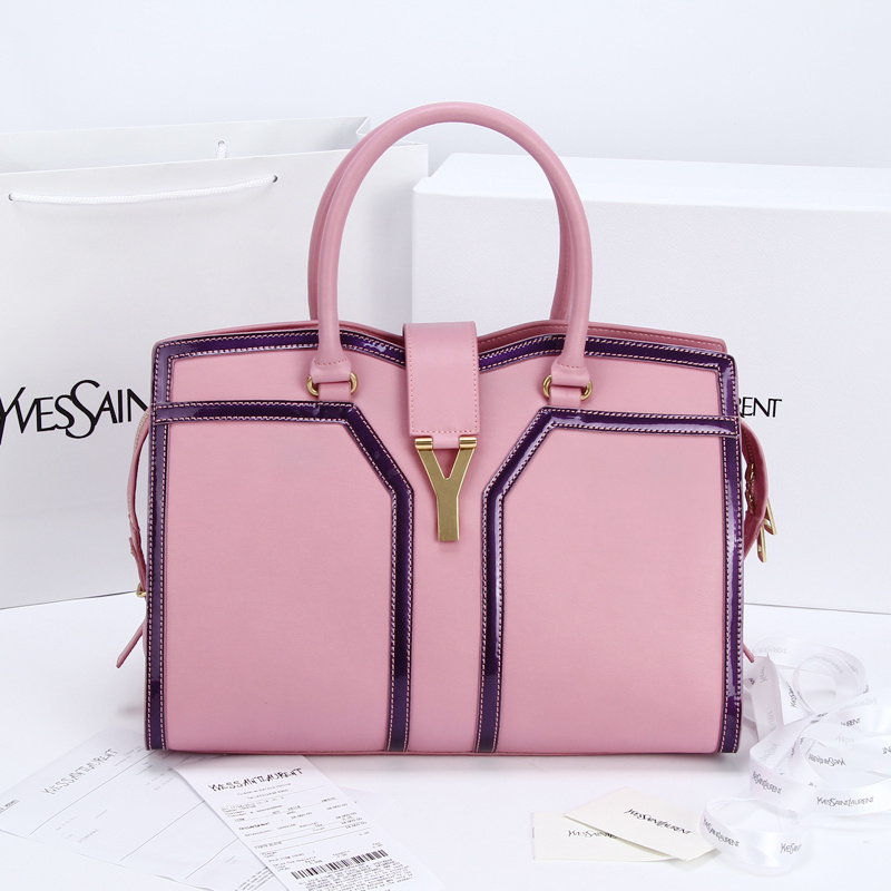 2013 Yves Saint Laurent Medium tricolor Cabas Chyc Bag 9928 Pink+purle