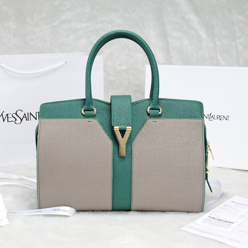 2013 Yves Saint Laurent Medium tricolor Cabas Chyc Bag 9928 Grey+green