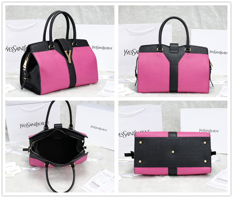 2013 Yves Saint Laurent Medium tricolor Cabas Chyc Bag 9928 Pink+Black