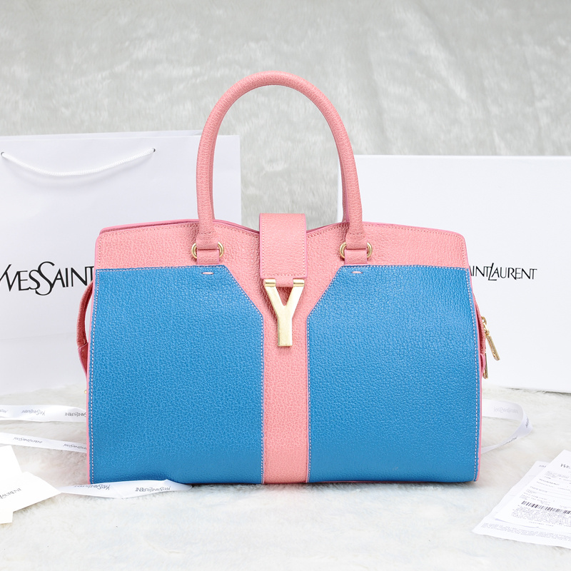 2013 Yves Saint Laurent Medium tricolor Cabas Chyc Bag 9928 Blue+pink