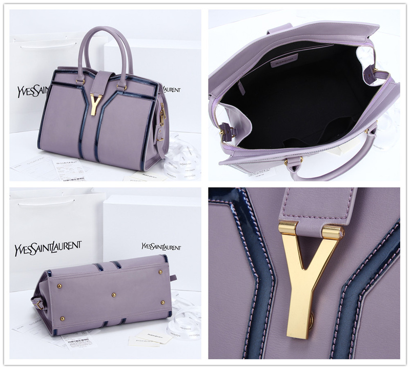 2013 Yves Saint Laurent Medium tricolor Cabas Chyc Bag 9928 purple+black
