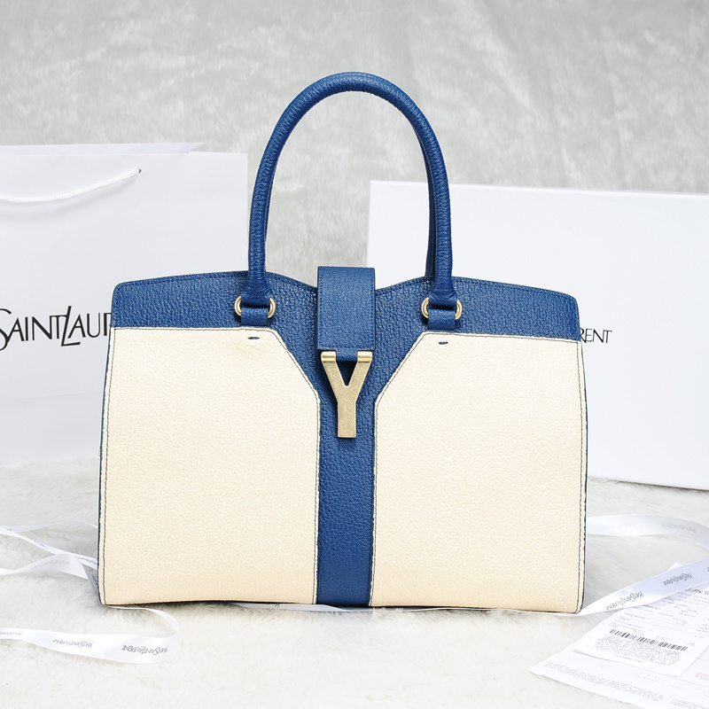 2013 Yves Saint Laurent Medium tricolor Cabas Chyc Bag 9928 Blue+white
