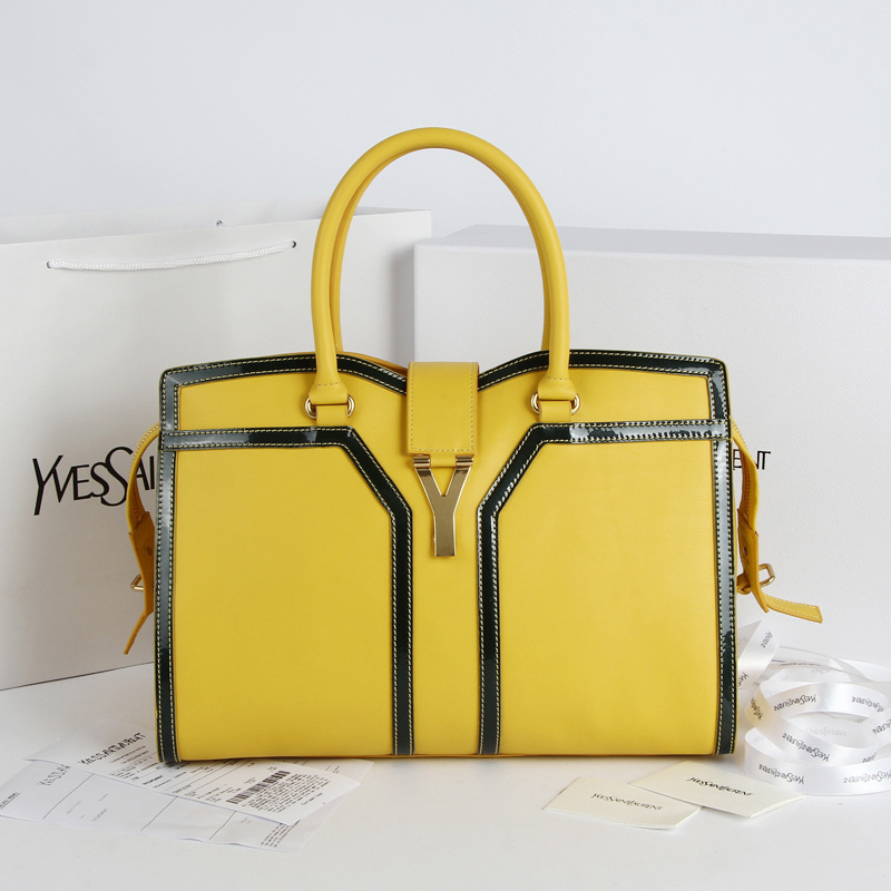 2013 Yves Saint Laurent Medium tricolor Cabas Chyc Bag 9928 Yellow+black