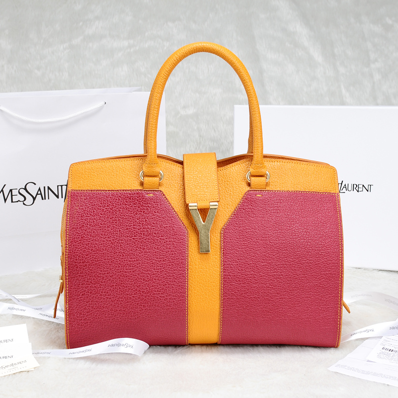 2013 Yves Saint Laurent Medium tricolor Cabas Chyc Bag 9928 Yellow+Claret