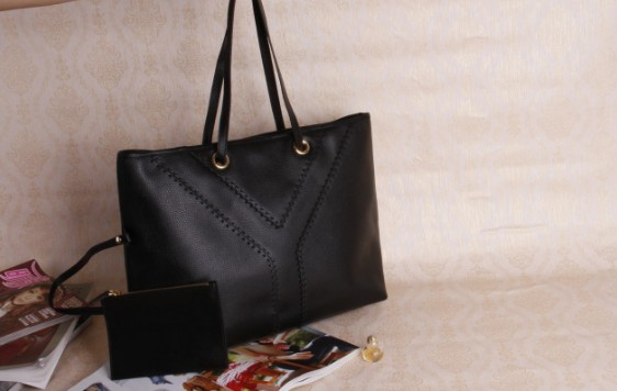 YSL Spring 2013-Cheap YSL Y Tote in Black leather