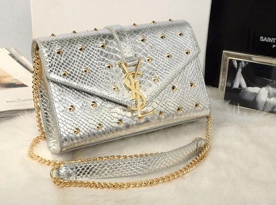 -2014 Cheap Yves Saint laurent studded shoulder bag in silver
