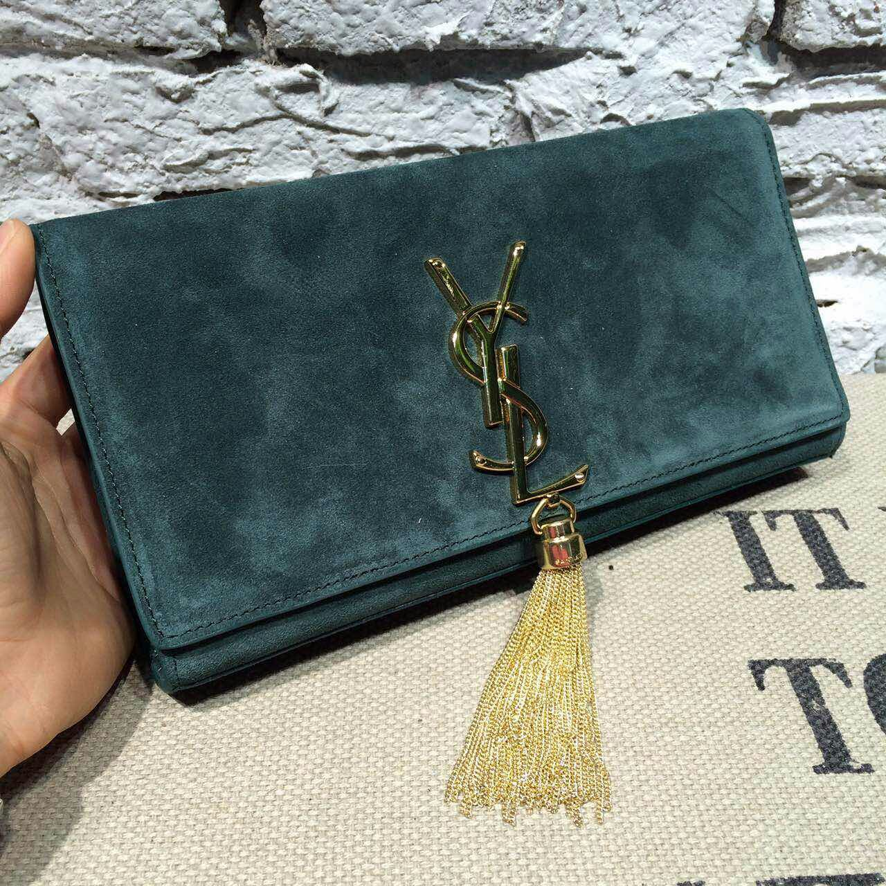 -2014 latest YSL Classic Monogramme Tassel Clutch suede leather green