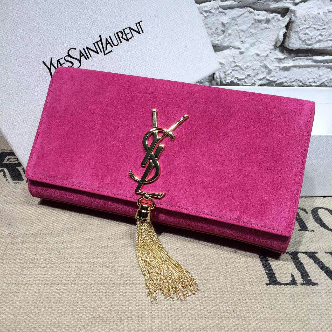 -2014 latest YSL Classic Monogramme Tassel Clutch suede leather hotpink