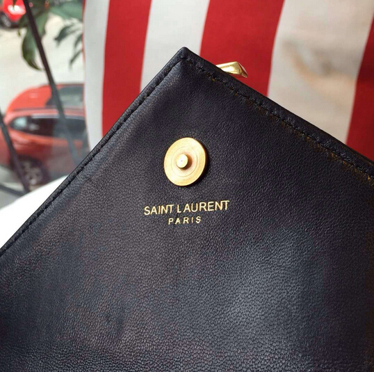 "S/S 2016 Saint Laurent Bags Cheap Sale-Saint Laurent Classic Baby Monogram Chain Bag in Black Grainy Matelasse Leather with Gold-Toned ""YSL"""