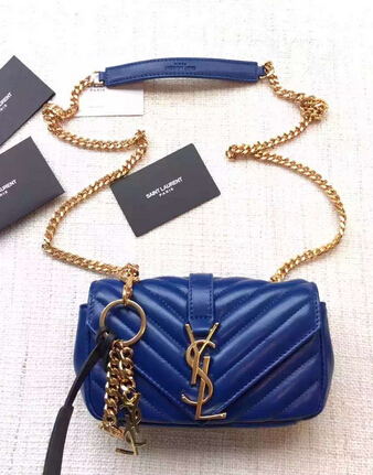 "Spring 2016 Saint Laurent Bags Cheap Sale-Saint Laurent Classic Baby Monogram Chain Bag in Electric Blue Grainy Matelasse Leather with Gold-Toned ""YSL"""
