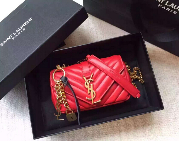 "Spring 2016 Saint Laurent Bags Cheap Sale-Saint Laurent Classic Baby Monogram Chain Bag in Cherry Grainy Matelasse Leather with Gold-Toned ""YSL"""