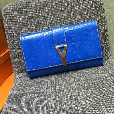 2015 New Saint Laurent Bag Cheap Sale-Saint Laurent Classic Y Clutch in Blue Snake Leather