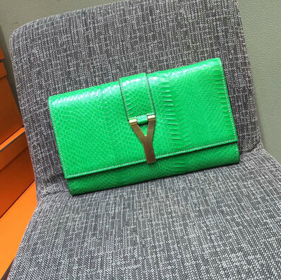 2015 New Saint Laurent Bag Cheap Sale-Saint Laurent Classic Y Clutch in Light Green Snake Leather