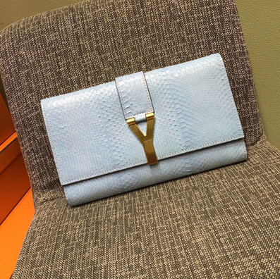 2015 New Saint Laurent Bag Cheap Sale-Saint Laurent Classic Y Clutch in White Snake Leather