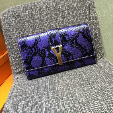 2015 New Saint Laurent Bag Cheap Sale-Saint Laurent Classic Y Clutch in Purple&Black Snake Leather