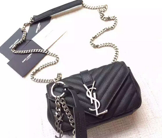 "S/S 2016 Saint Laurent Bags Cheap Sale-Saint Laurent Classic Baby Monogram Chain Bag in Black Grainy Matelasse Leather with Silver-Toned ""YSL"""