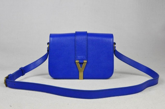 6006c241306 2012 Yves Saint Laurent Chyc Long Strap Shoulder Bag-blue
