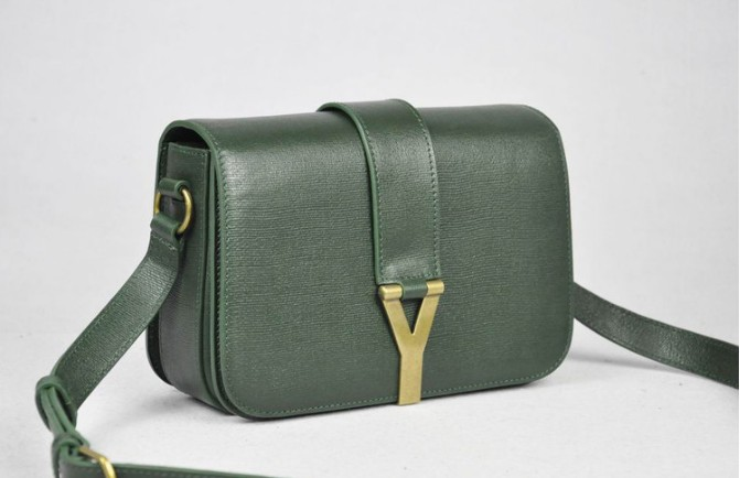 2012 Yves Saint Laurent Chyc Long Strap Shoulder Bag-olive green f1da967991dad
