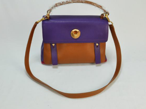 2013 Cheap YSL Muse Two Small leather tote purple/brown