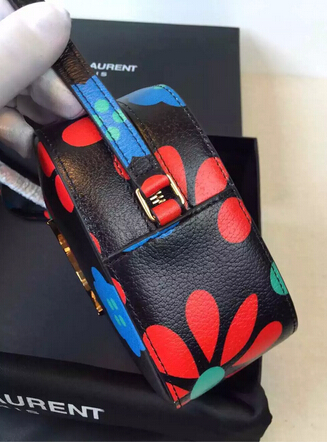 2015 New Saint Laurent Bag Cheap Sale-YSL Camera Cross-body Bag in Flower Printed Calfskin Leather - Click Image to Close