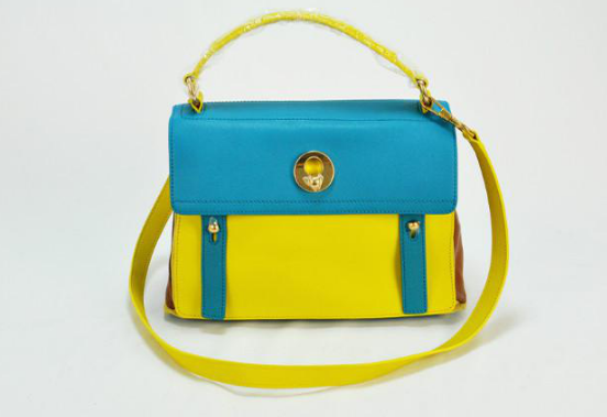 2013 Cheap YSL Muse Two Small leather tote yellow/blue
