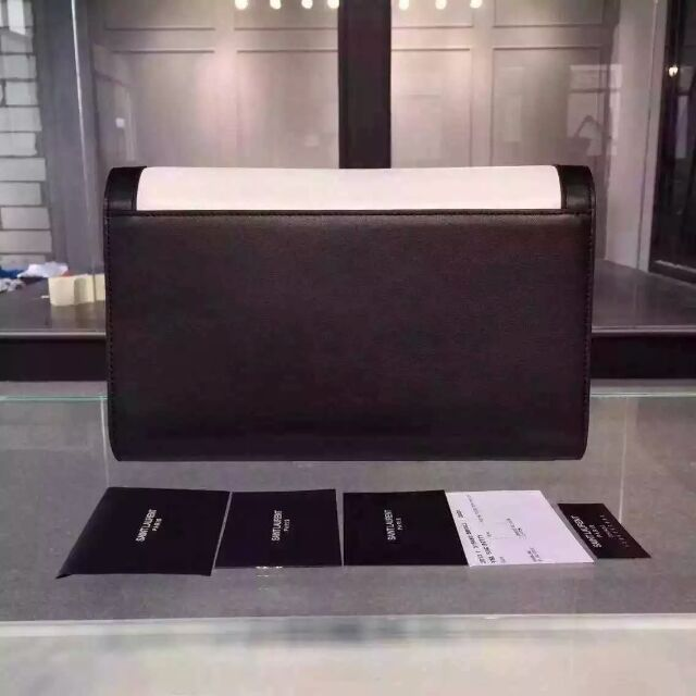 2015 New Saint Laurent Bag Cheap Sale-YSL Color Matching Clutch in White&Black Calfskin