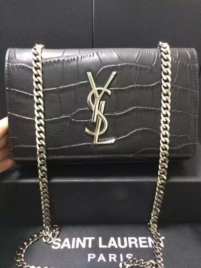 2015 New Saint Laurent Catwalk Collection Cheap Sale-YSL Chain Shoulder Bag in Black Embossed Crocodile Leather