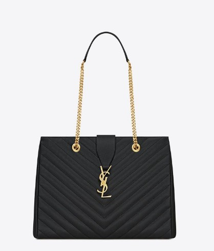 -2014 Classic Saint Laurent shopper tote with metal chain black