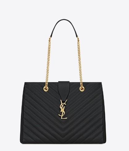 1fb6abb21144 -2014 Classic Saint Laurent shopper tote with metal chain black