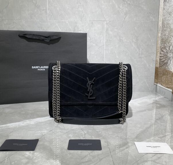 2020 cheap Saint Laurent Niki suede bag BLACK