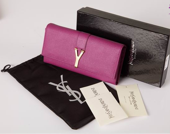 2012 Cheap Yves Saint Laurent Y Clutch in Fushia Leather,YSL Bags
