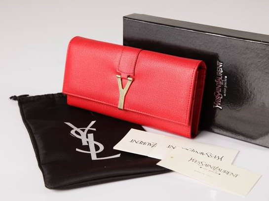 2012 Cheap Yves Saint Laurent Y Clutch in red Leather,YSL Bags